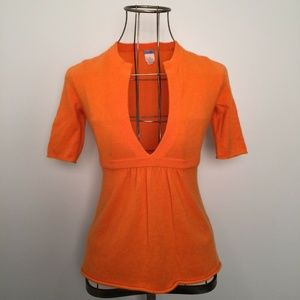 J. CREW Tangerine 100% Cashmere Split Vee Sweater
